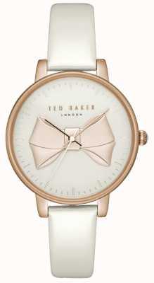 Ted Baker Arco de mujer rosa esfera de oro rosa caja de oro rosa de cuero blanco TEC0185005