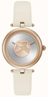 Ted Baker Mujer andrea rosa oro arco marcar correa de cuero blanco TE15199002