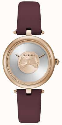 Ted Baker Reloj análogo de cuarzo con pilas de cuero púrpura para mujer TE15199004