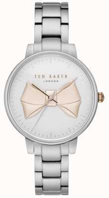 Ted Baker Pulsera de mujer de oro plateado arco plata pulsera de acero inoxidable TE15197004