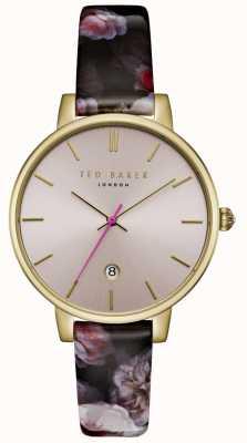 Ted Baker Womans kate rosa dial oscuro correa de cuero de impresión floral TE15092001