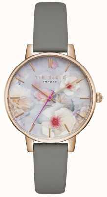 Ted Baker Womans kate floral dial correa de cuero gris caja de oro rosa TEC0025007
