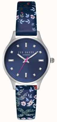 Ted Baker Womans zoe azul oscuro dial caja de acero inoxidable azul floral TE50001001