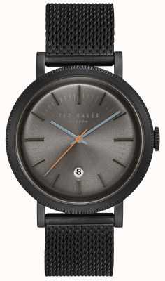 Ted Baker Connor gris oscuro dial negro caja de pvd malla de acero inoxidable TE15062009