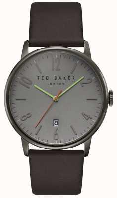 Ted Baker Mostrar fecha de marcado gris Daniel correa de cuero marrón oscuro TE15067004