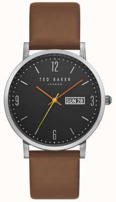 Ted Baker Mostrar fecha de día de Grant esfera negra correa de cuero marrón TE15196010