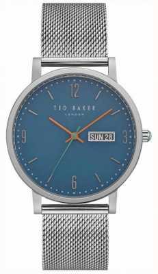 Ted Baker Grant día fecha pantalla azul dial malla de acero inoxidable TE15196013