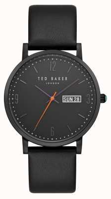 Ted Baker Diamante de la fecha del día de Grant negro dial correa de cuero negro TE15196012