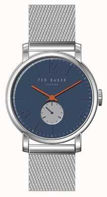 Ted Baker Oliver azul esfera plata acero inoxidable malla pulsera naranja TE15063006