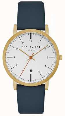 Ted Baker Mostrar fecha de la caja de oro con esfera blanca de Samuel correa de cuero azul TE15088003
