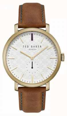 Ted Baker Correa de cuero de color tostado con diseño crema de Trent TE15193006