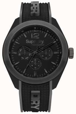Superdry Navigator elegante negro correa de silicona gris destaca SYG215EB