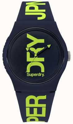 Superdry Silicona azul marino con texto verde SYG189UN