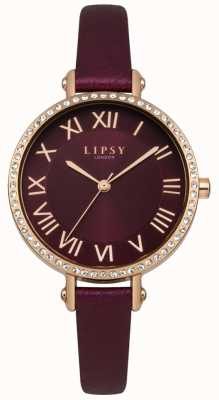 Lipsy Burgandy sunray dial rose gold set cristal cuero LP537