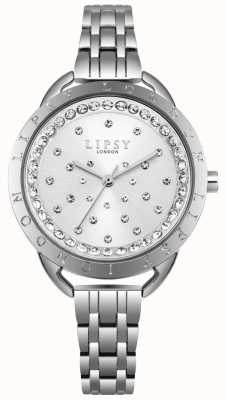 Lipsy Silver sunray crystal set dial plata caja de acero inoxidable LP553