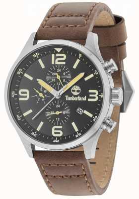 Timberland Rutherford black dial correa de cuero marrón 15266JS/02