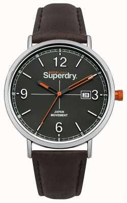 Superdry Correa de cuero marrón oscuro esfera gris SYG190BR