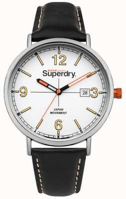 Superdry Correa de cuero negro corona blanca naranja corona SYG190B