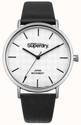 Superdry Correa de cuero negro esfera blanca estampada SYL190B