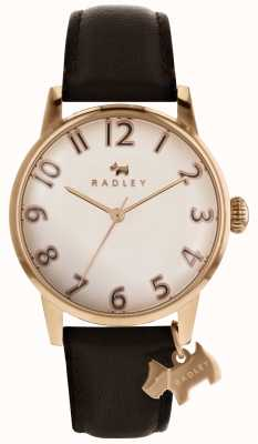 Radley Womans liverpool rose gold dial dog charm cuero marrón oscuro RY2592