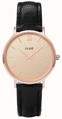 CLUSE Reloj análogo de cuarzo con pilas de cuero para mujer de oro rosa CL30051