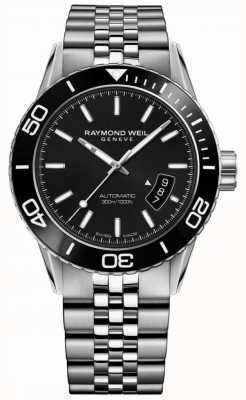 Raymond Weil Brazalete de acero inoxidable con tango negro para hombre 8260-ST1-20001