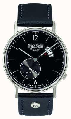 Bruno Sohnle Rondo grande 38mm cuarzo negro esfera día y fecha de visualización 17-13053-761