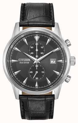 Citizen Corso para hombre Corso negro correa de cuero negro esfera CA7000-04H