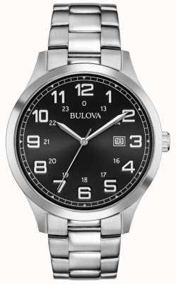 Bulova Fecha de visualización cara negra pulsera de acero inoxidable de metal 96B274