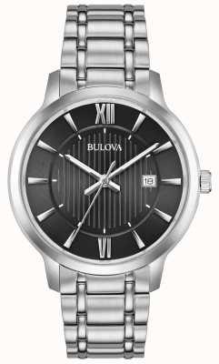Bulova Fecha de visualización cara negra pulsera de acero inoxidable de metal 96B278
