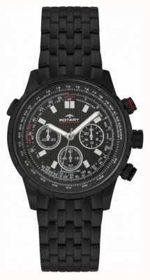 Rotary Cronógrafo negro esfera negra de acero IP para hombre GB00177/04S