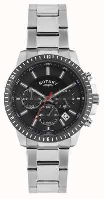 Rotary Mens cronógrafo pulsera acero inoxidable esfera negra GB00173/04S