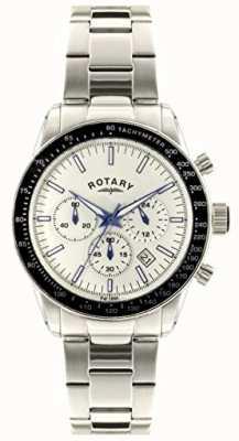 Rotary Cronógrafo para hombre pulsera de acero inoxidable esfera blanca. GB00470/01