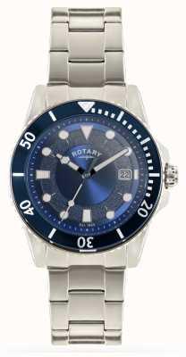 Rotary Brazalete de acero inoxidable para hombre con esfera azul GB00487/05
