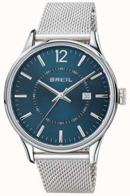 Breil Pulsera de malla con dial azul Contempo de acero inoxidable TW1560