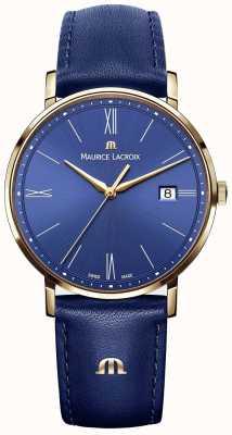 Maurice Lacroix Reloj de piel azul y oro Eliros EL1087-PVP01-410-1