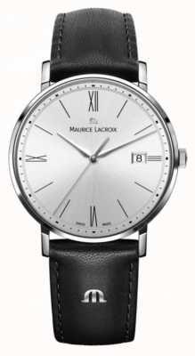 Maurice Lacroix Reloj de cuero negro y plata para mujer Eliros EL1084-SS001-110-1