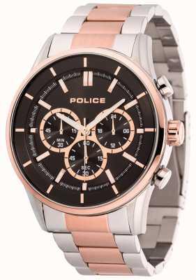 Police Mens acometidas de acero inoxidable y pulsera de oro rosa esfera negra 15001JSTR/02M