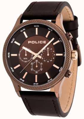 Police Reloj de cuero marrón para hombre 15002JSBN/12