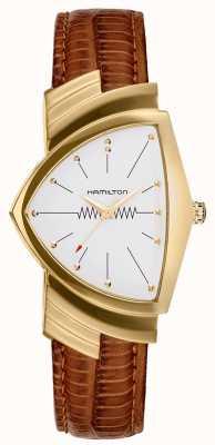 Hamilton Reloj con correa de cuero marrón revestido en oro Ventura H24301511