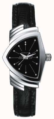 Hamilton Reloj de mujer de acero inoxidable Ventura y cuero negro H24211732