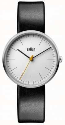 Braun Correa clásica de cuero negro con esfera blanca para mujer BN0173WHBKL