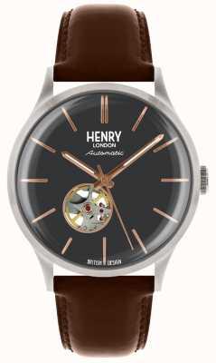 Henry London Correa para hombre de cuero azul marino con marcación automática HL42-AS-0281