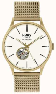Henry London Brazalete de malla metálica tono dorado automático esfera blanca HL42-AM-0284
