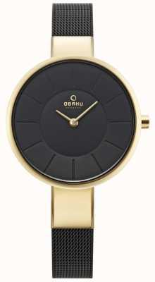 Obaku Reloj para mujer reloj negro malla V149LXGBMB