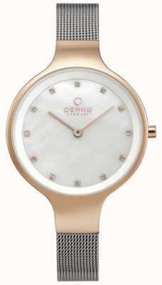 Obaku Reloj para mujer con malla de plata, pulsera de malla, caja de oro rosa V173LXVWMC