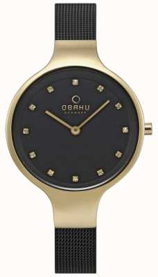 Obaku Reloj para mujer con correa de malla negra, caja dorada V173LXGBMB