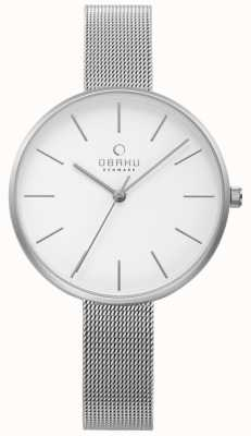 Obaku Pulsera de malla de acero plateada reloj violín para mujer V211LXCIMC