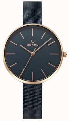 Obaku Pulsera de malla de acero negro reloj violín para mujer V211LXVLML