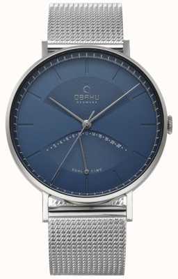 Obaku Reloj de pulsera de malla de plata de mens de olmo reloj azul V213GUCLMC